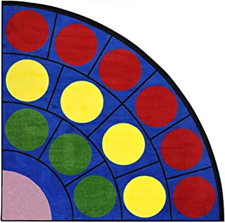 Joy Carpets Kid Essentials Early Childhood Quarter Round Lots of Dots Rug, Multicolored, 6'7