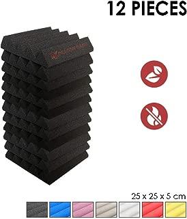 Super Dash (12 Pieza) de 25 X 25 X 5cm Insonorización Cuña Espuma Absorción Aislamiento Acústica Paneles Tratamiento Conjunto SD1134 (NEGRO)