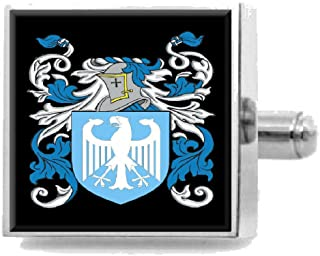 Clitheroe England Family Crest Surname Coat Of Arms Cufflinks Personalised Case