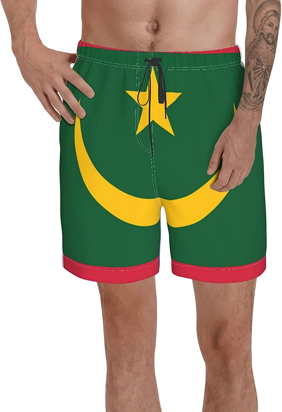 Count Mauritania Flag Men's 3D Printed Funny Summer Quick Dry Swim Short Board Shorts with