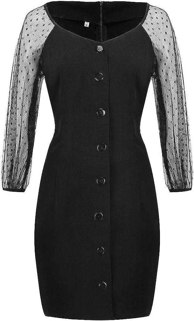 NPRADLA 2020 Herbst Winter Damen Kleider Schwarz und Weiß Einfarbig Spitze Party Halbes Hülsenkleid X1-schwarz