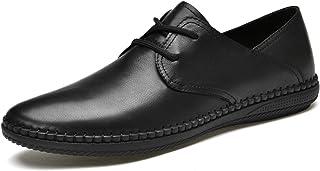 Zapatos casuales Zapatos livianos elásticos para hombres, cordones livianos de cuero, punta redonda de color plano suela p...