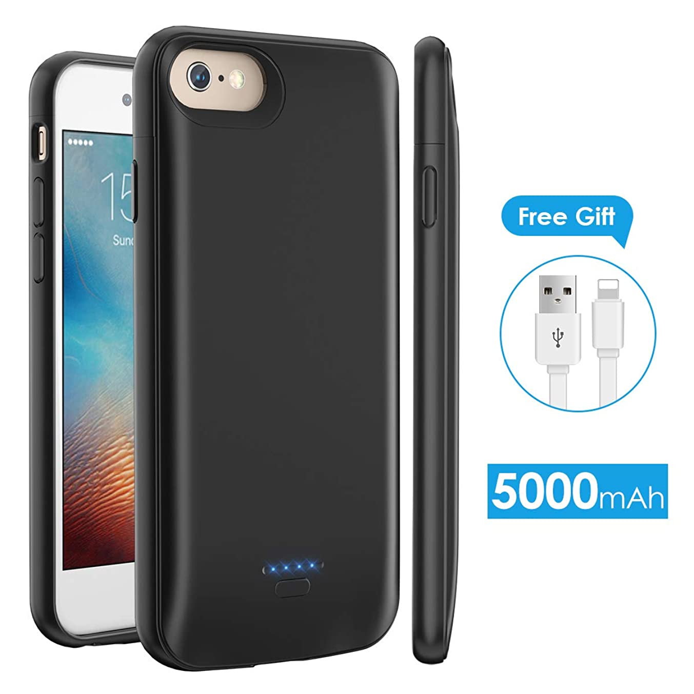 iPhone 6 6s Battery Case 5000mAh, licheers Portable Enhance Protective Charging Case for iPhone 6/6s/7/8(4.7 inch) Extended Battery Charger Case (Black)
