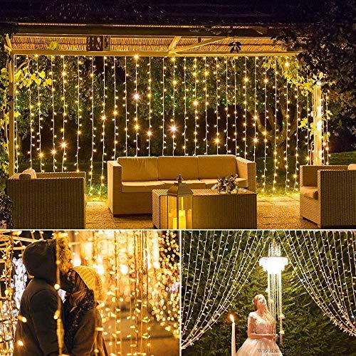 Qomolo Lichterkette LED Garten Vorhang 3x3m 304 LEDs Lichterkette Innen Warmweiß 8 Lichteffekte Dekorationsleuchte Außen Beleuchtung von Garten, Weihnachten, Hochzeit Party