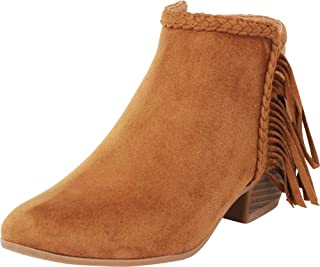 Cambridge Select Women's Closed Toe Western Fringe Braided Low Block Heel Ankle Bootie