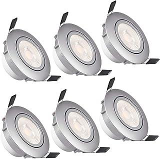 WZTO Foco Empotrable LED Techo, GU10 LED 5W 3000K 480Lumen �ngulo Rotable 30° Ojos de Buey Marco Redondo Esmerilado Foco Empotrable para Sala de Estar, Oficina, Baño, Cocina