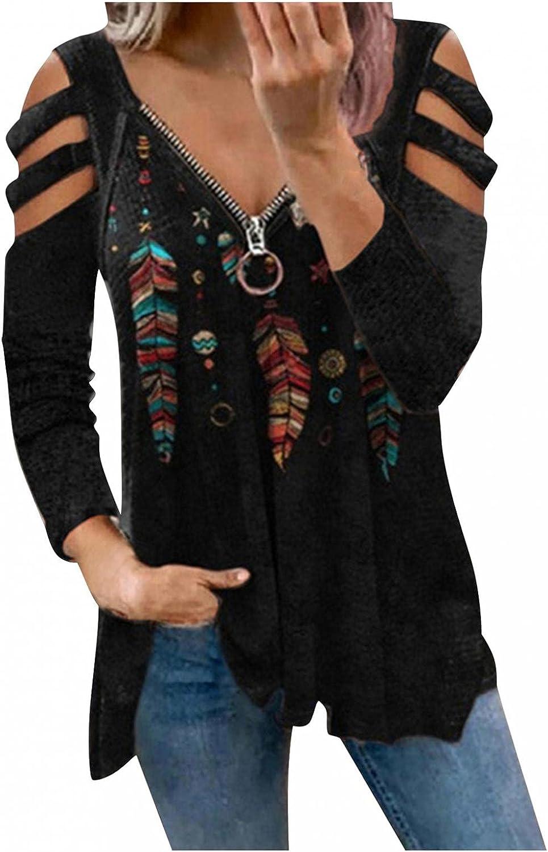 BABKE Long Sleeve Shirts for Women,Casual V Neck Sweatshirts Cold Shoulder Blouse Fashion Print Zip Up Tops