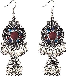NIKOLay Vintage Bohemian Ethnic Hook Earrings Shaking Dangle Chandelier Beads Tassel Drops Oil Engraved Earrings,red