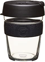 Reusable Coffee Cup. Toughened Glass Cup & Non-Slip Silicone Band. Metal 12 oz Medium Metal