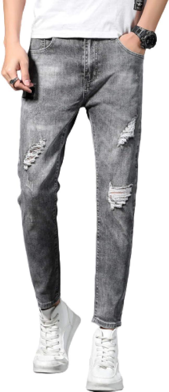 Men's Slim-fit Denim Trousers Jeans 送料無料新品 Retro Conventiona 売買 Distressed