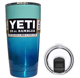 YETI Coolers 20 Ounce (20oz) (20 oz) Custom Powder Coated Insulated Stainless Steel Rambler Tumbler Travel Cup Mug with New Magslider Spill Proof Lid (Seafoam Glitter Blue Ombré)
