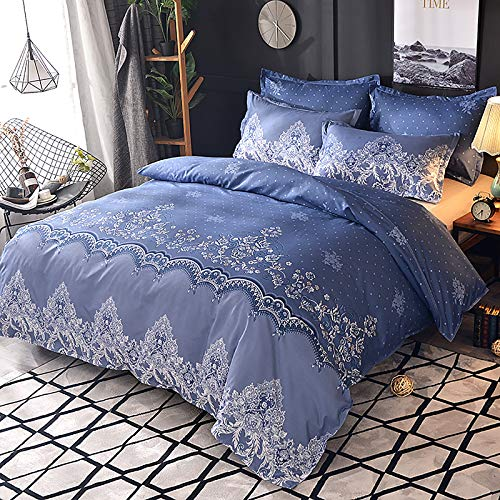 Duvet Cover with Pillowcases Cotton Quilt Bedding Covers, Lace Embroidery Pattern Soft Quilt Covers, Luxury Bedding Set with Zipper Closure, for Twin Full Queen King,Blue,Queen