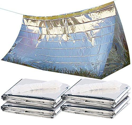 Semptec Urban Survival Technology Outdoor-Zelt: 4er-Set Notfall-Zelte für 2 Personen, hitzeabweisend, kältedämmend (Faltbares Notfallzelt)
