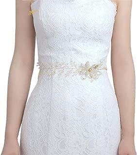 LUKEEXIN Bridal Belt Girdle Women's Decoration Crystal Petal Decoration Wedding Dress Accessories (Color : Ivory)