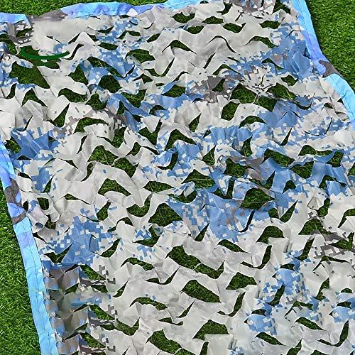 WYZQQ Lichtgewicht camo-net met mesh-duurzame camouflage-netjaloezieën (6,5 x 10 voet) voor de jacht op militaire schaduw autoafdekkingen - blauwe camouflage 5mX7m
