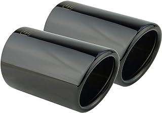 L&P A287 2 Auspuffblenden Auspuffblende Schwarz Chrom Edelstahl poliert Plug&Play Endrohrblenden Endrohrblende Auspuff Blende Endrohre