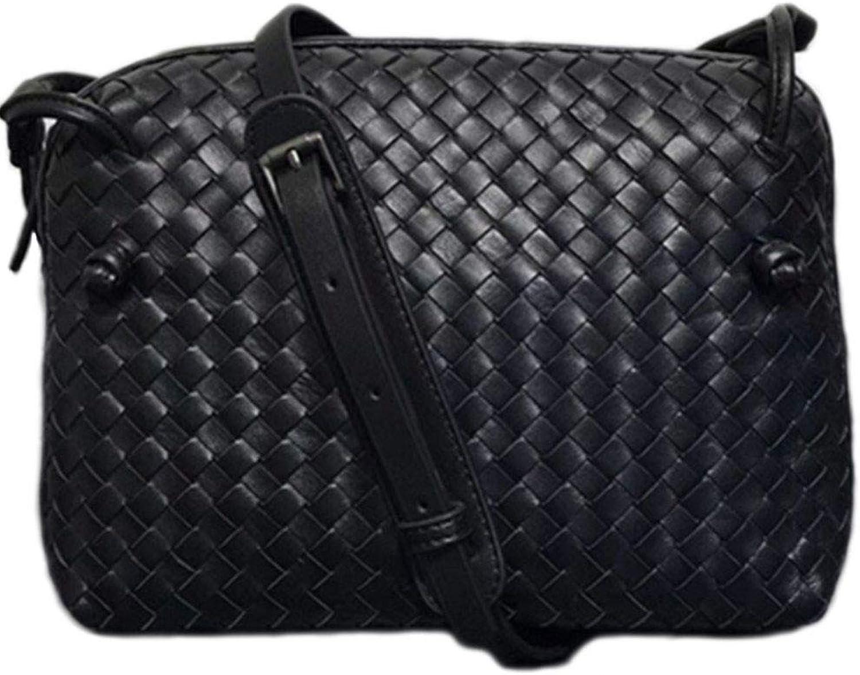 Bloomerang DCM Real Sheepskin Woven Luxury Crossbody Bags Lady Fashion Small Shoulder Bag color Black