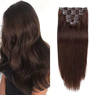 Double Weft Thick Silky 100% Human Hair Clip in Extensions Straight Soft Clip in Hair Extensions for Women Full Head Clip in Human Hair Extensions 14 inches Dark Brown(#2) 8Pieces 100grams