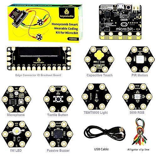 KEYESTUDIO BBC Micro:bit Starter Kit Honeycomb Smart Wearable Coding Kit for Microbit Kit