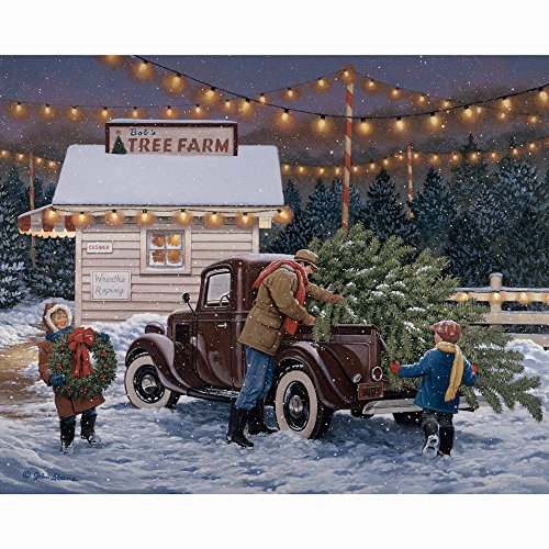 Bits and Pieces - 300 Large Piece Jigsaw Puzzle for Adults - Tree Farm - 300 pc Christmas, Holiday Jigsaw by Artist John Sloane