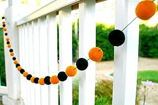 Orchid & Ivy 8 Foot Black and Orange Wool Felt Ball Pom Pom Garland - Halloween Garland Decoration