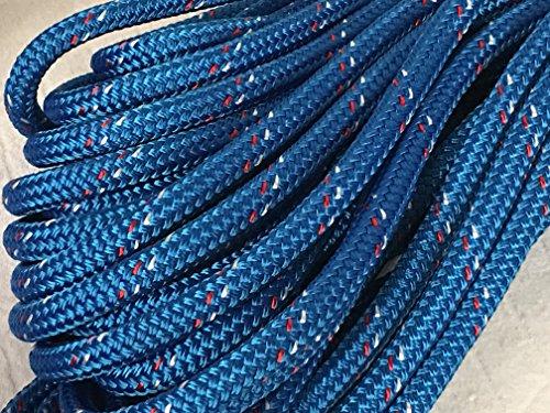 Yacht Braid Premium Polyester Rope 1/2 inch, Blue (150 feet)