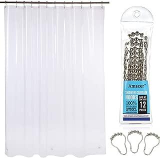 Amazer EVA 8G Shower Curtain Liner with Shower Curtain Hooks, 72