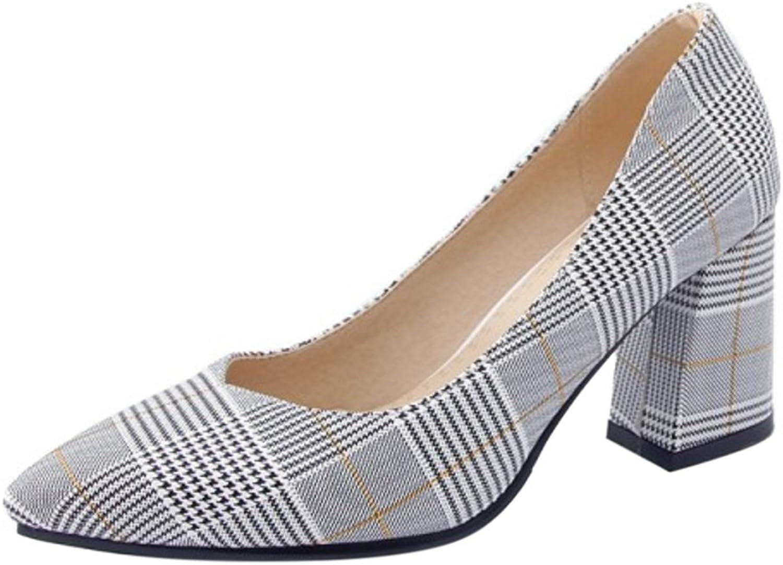 TAOFFEN Women's Block Heel Pumps Court shoes