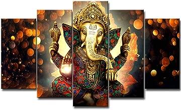 LiftGather 5pcs / set waterproof canvas painting elephant trunk God Ganesha HD print home wall hanging art prints modular pictures(40