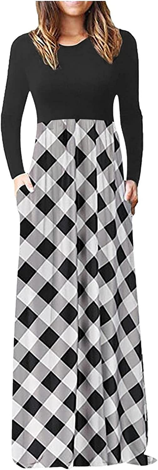 ZLBDYG Women's Dresses Autumn and Winter New Printed Long-Sleeved Floor-Length Casual Low-Cut Sexy Dress