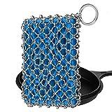 Juego de limpieza de sartén de hierro fundido 316 de alta calidad, de acero inoxidable con inserto de silicona, herramienta de limpieza de cadena de metal para sartén de acero, sartén de hierro (azul)