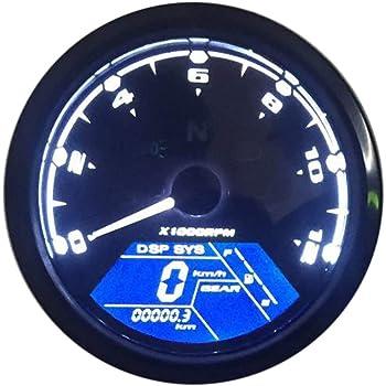 HNOOSTER Tachym/ètre num/érique Maintenance Moto Compteur kilom/étrique Tach LCD Compteur de vitesse Compteur kilom/étrique et tachym/ètre Compteur de vitesse Jauge Universel 15000rpm