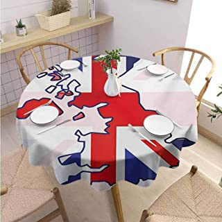 VICWOWONE Home Round Tablecloth Union Jack Machine Washable Faded United Kingdom Flag and Country Map Composition Nations Symbols,Round - 70 inch Violet Blue Red White