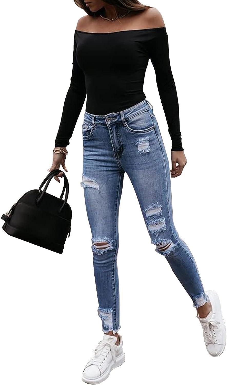 MINEEE Women's Ripped High Waist Slim Boyfriend Jeans Skinny Stretch Destroyed Denim Pants