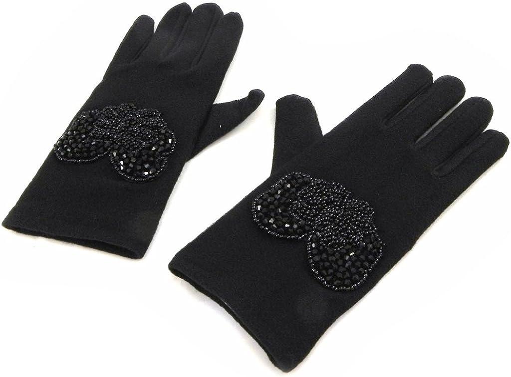 Gloves for women 'Clothilde' pearls black.