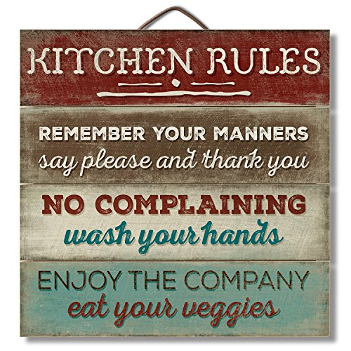 Highland gráfica Las Reglas de la cocina 12'regenerado Letrero De Madera