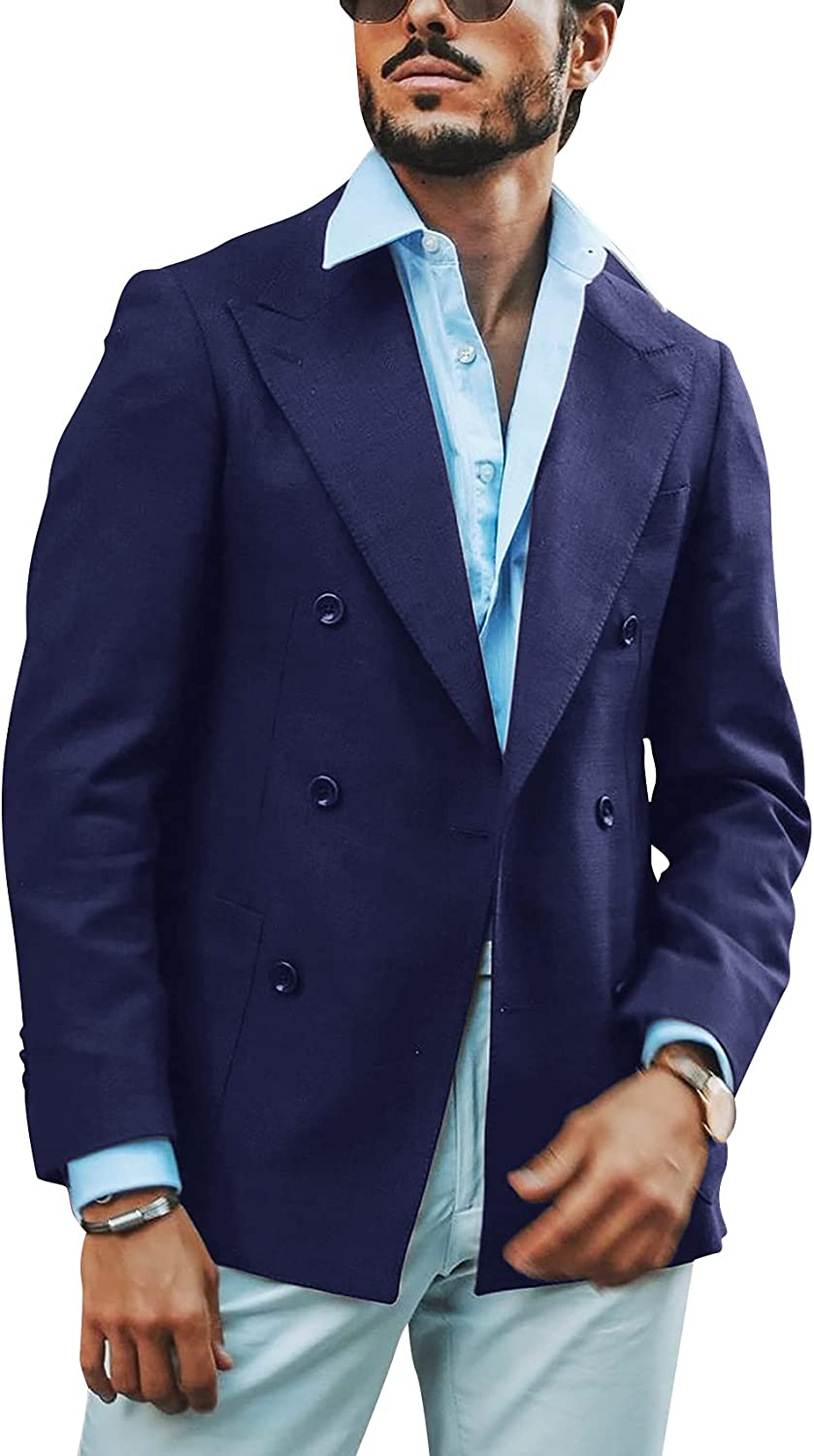 Mens Sport Coat Casual Blazer Cotton Blend Double Breasted Fashion Business Suit Jacket