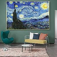 印象派ヴァンゴッホ星月夜複製キャンバス絵画ポスターとプリント壁アート写真ホームルーム装飾60x105cm(23.6x41.3in)内枠