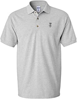 Polo Shirts for Men Grey Disc Golf Basket Embroidery Short Sleeves Golf Tees