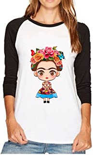 ZMLIA Womens Frida Kahlo Crew Neck Patchwork Raglan Long Sleeve T-Shirt Casual Shirt