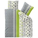 CelinaTex Style Bettwäsche 200 x 220 cm 3teilig Mikrofaser Bettbezug Louisa Wellen Kreise weiß grau grün
