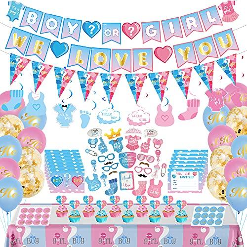 Baby Shower Deko Set, 114 Stück Gender Reveal Party mit Junge und Mädchen Banner, Geschlecht Verkünden Luftballons, Foto Requisiten, Einladungskarte für Geschlecht Offenbaren Party