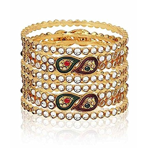 YouBella Ethnic Bollywood Gold Plated Kundan Bracelets Bangles Jewellery for Women and Girls (5.7)