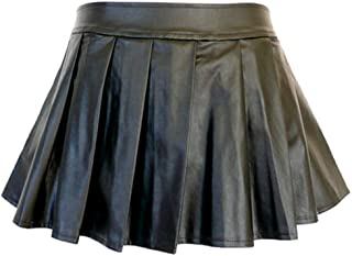b6e7a7afe8726 5209 - Plus Size PVC Faux Leather Pleated Sexy Mini Skirt Black