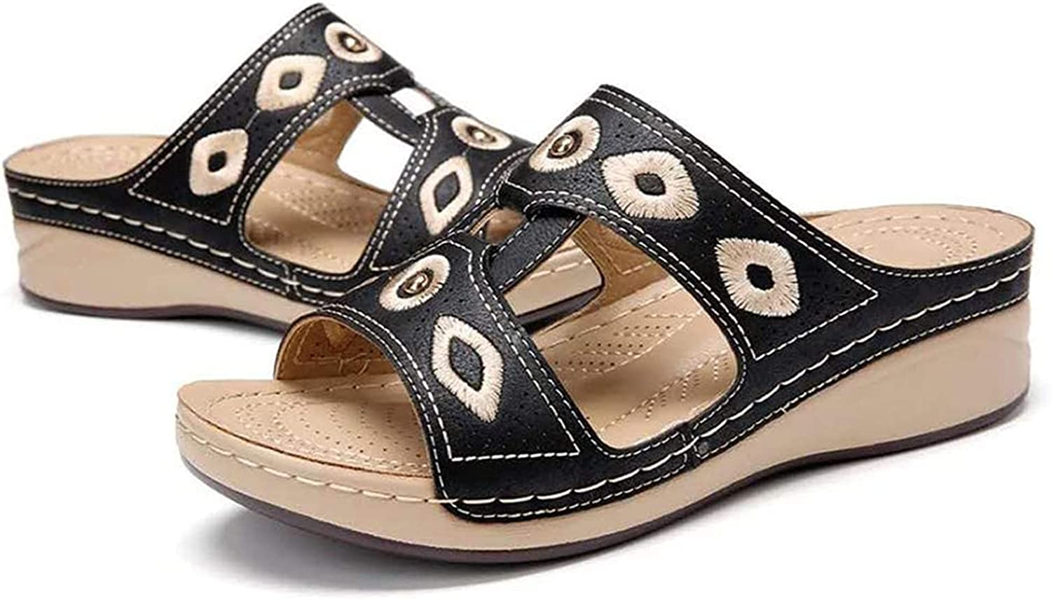 CHLDDHC Summer Jacksonville Quantity limited Mall Hollow Embroidered Sandals Women's Platform Wedge
