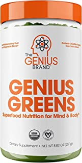 Genius Super Greens Powder Nootropic Supplement - Organic Spirulina Powder w/ Lions Mane, Kale, and Antioxidants | Amazing...