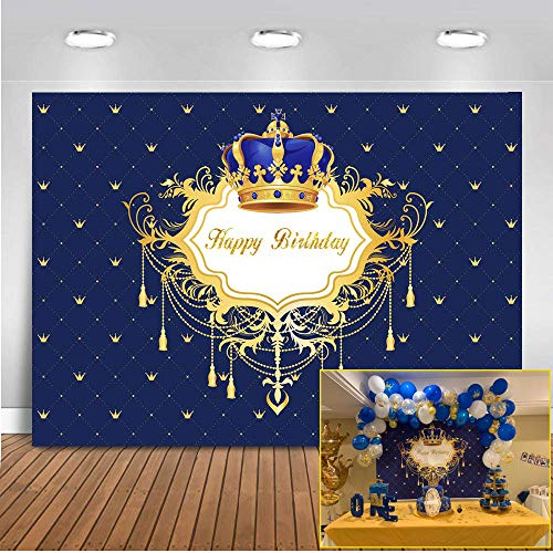 Mehofoto Joyeux Anniversaire Photo Toile de Fond Royal Blue Petit Prince et Princesse Couronne Décors 7x5ft Anniversaire Fête Bannière Photographie Fond