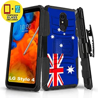 TalkingCase Black Dual Layer Phone Case for LG Stylo 4,Stylo 4 Plus,Flag Australia Print,Kickstand,Belt Clip Holster,Tempered Glass Protector Included,Designed in USA