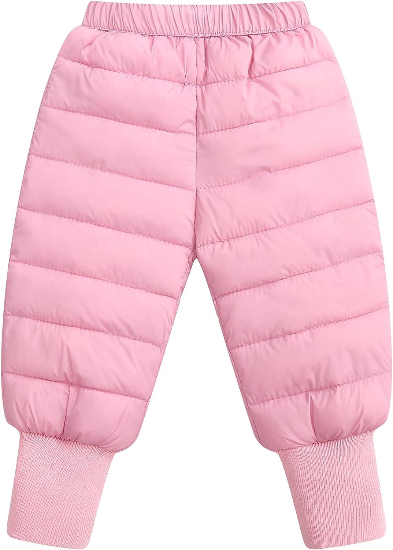 Happy Cherry Baby Boys Girl Waterproof Pants Cozy-Dry Winter Snow Pants Fleece-Lined Trousers