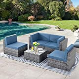 SUNLEI 5pcs Patio Conversation Set Outdoor Furniture Sets,Low Back All-Weather Rattan Sectional Sofa with Tea Table&Washable Couch Cushions&Ottoman(Silver Rattan)(Aegean Blue)